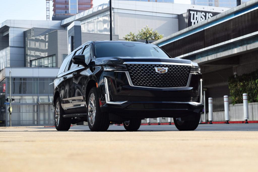Cadillac Escalade Downtown Los Angeles Front driving LA Live