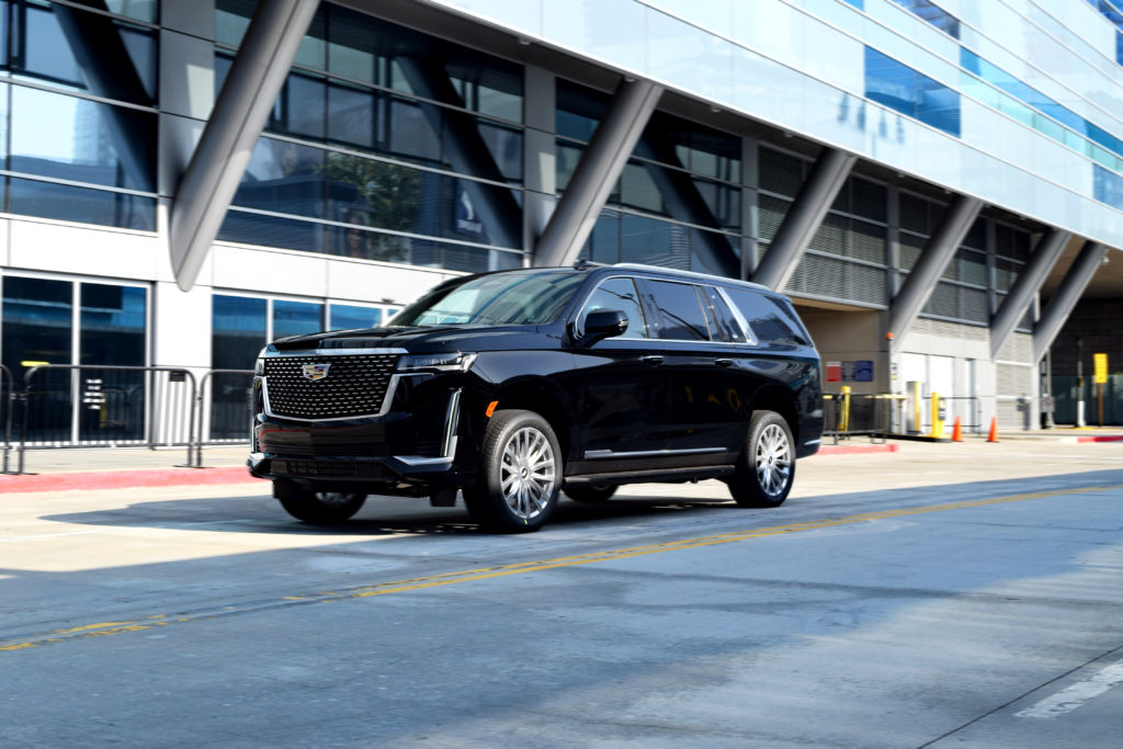 Cadillac Escalade Downtown Los Angeles Street View driving in LA Live Staples Center