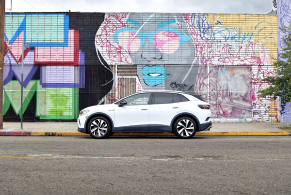Volkswagen VW ID.4 art wall in downtown Los Angeles