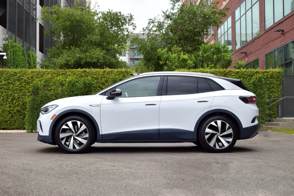 VW ID.4 white crossover electric vehicle